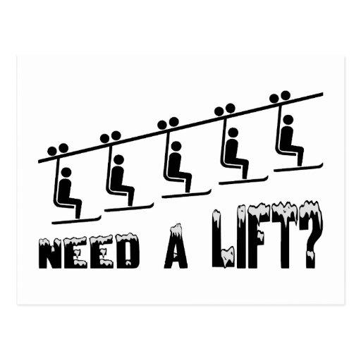 Need A Ski Lift Postcard
