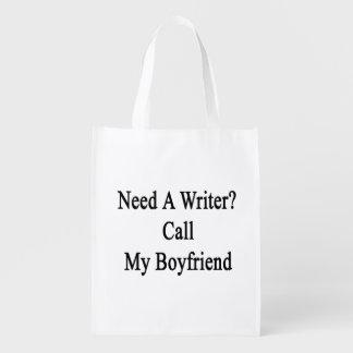Need A Writer Call My Boyfriend Grocery Bag