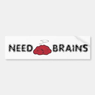Need Brains (Dead Galoot Hoot Zombie Owl Brain) Bumper Sticker