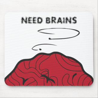 Need Brains (Dead Galoot Hoot Zombie Owl Brain) Mouse Pad