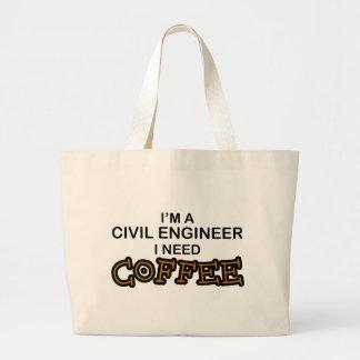Need Coffee - Civil Engineer Large Tote Bag