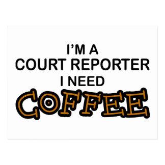 Need Coffee - Court Reporter Postcard