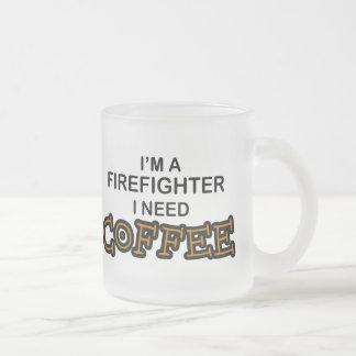 Need Coffee - Firefighter 10 Oz Frosted Glass Coffee Mug