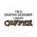 Need Coffee - Graphic Designer Classic Round Sticker