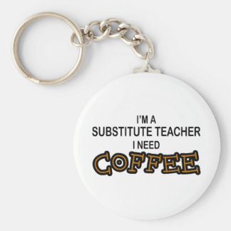 Need Coffee - Substitute Teacher Basic Round Button Keychain