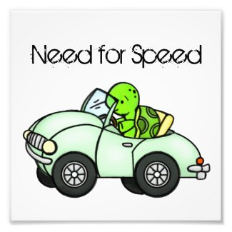 Need for Speed Turtle Driving Digital Art Photo Print