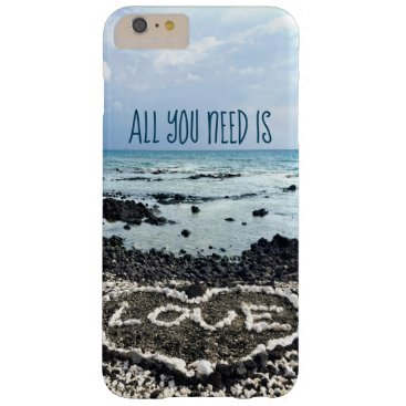 "Beach Themed ""Need Love"" Quote Hawaii Beach & Coral Heart Photo Barely There iPhone 6 Plus Case"