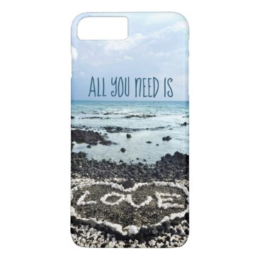 "Beach Themed ""Need Love"" Quote Hawaii Beach & Coral Heart Photo iPhone 8 Plus/7 Plus Case"