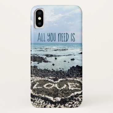 "Beach Themed ""Need Love"" Quote Hawaii Beach & Coral Heart Photo iPhone X Case"