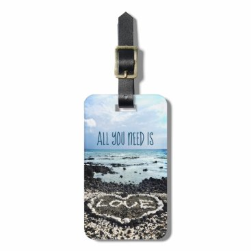 "Beach Themed ""Need Love"" Quote Hawaii Beach & Coral Heart Photo Luggage Tag"