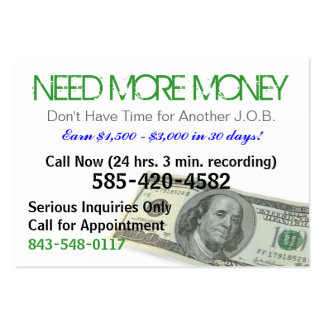Need More Money Sizzle Card Large Business Cards (Pack Of 100)