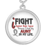 Need My Aunt Brain Cancer Round Pendant Necklace