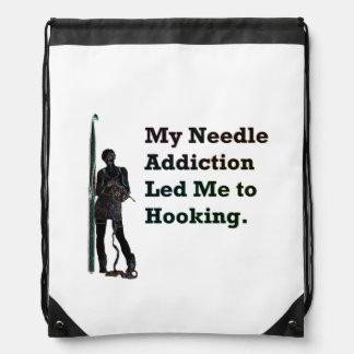 Needle Addiction Drawstring Bag