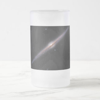 Needle Galaxy NGC 4565 edge-on spiral galaxy Frosted Glass Beer Mug