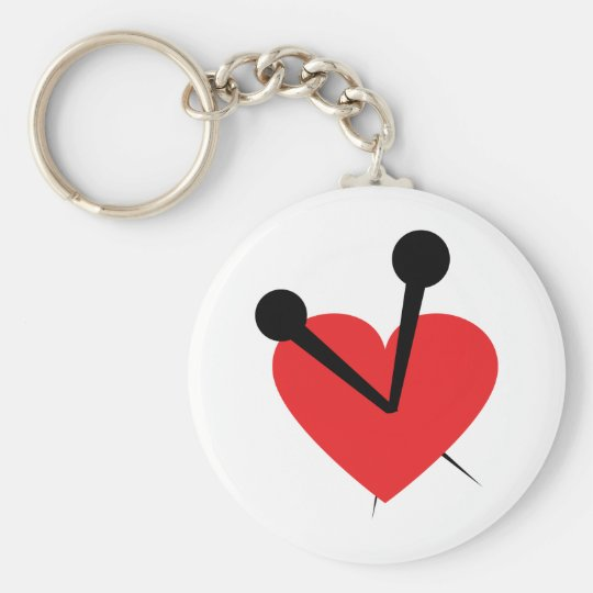 Needle heart keychain