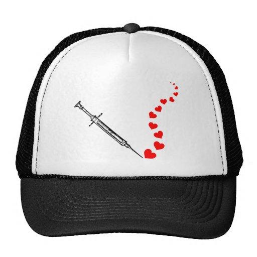 Needle Hearts (black) Mesh Hat