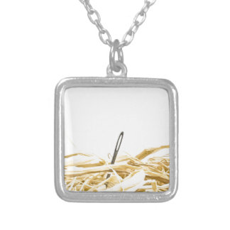 needle in a haystack silver plated necklace