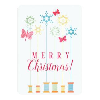Needle thread butterflies crafts Christmas card