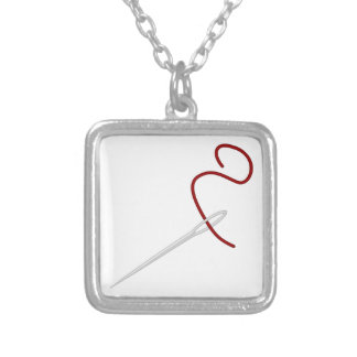 Needle thread needle thread silver plated necklace