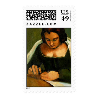 NEEDLE WOMAN OLD MASTER'S STAMP