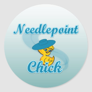 Needlepoint Chick #3 Classic Round Sticker