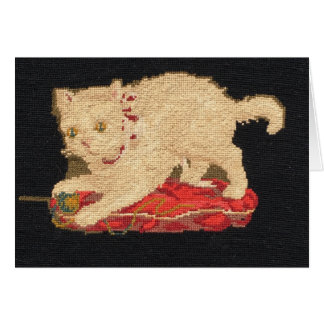 Needlepoint Kitty Cat Note Card