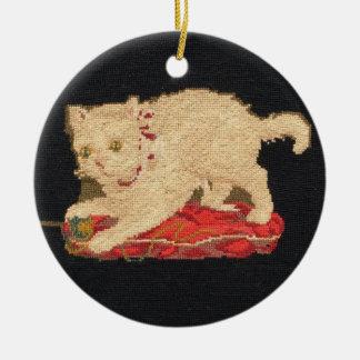 Needlepoint Kitty Cat Ornament