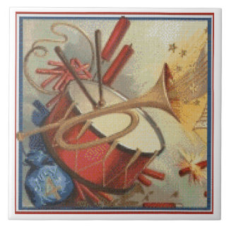 Needlepoint Style 4th of July Independence Day Large Square Tile