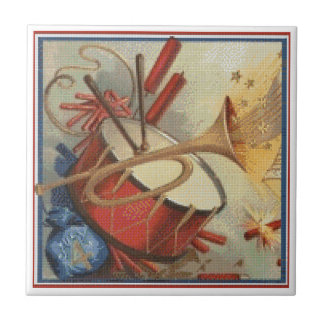 Needlepoint Style 4th of July Independence Day Tile