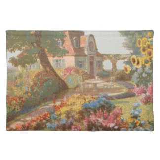 Needlepoint Style Garden House Cloth Placemat
