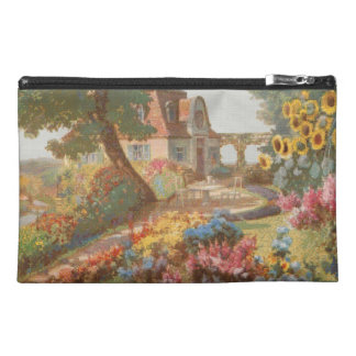 Needlepoint Style Garden House Travel Accessory Bag