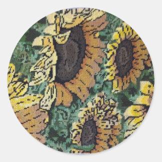 Needlepoint Sunflower Classic Round Sticker