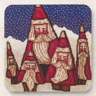 Needlepoint Tree Santa Drink Coasters