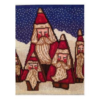 Needlepoint Tree Santas Postcard