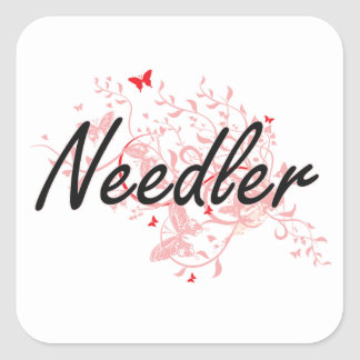 Needler Artistic Job Design with Butterflies Square Sticker