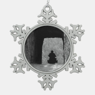 Needles Highway Tunnel Snowflake Pewter Christmas Ornament