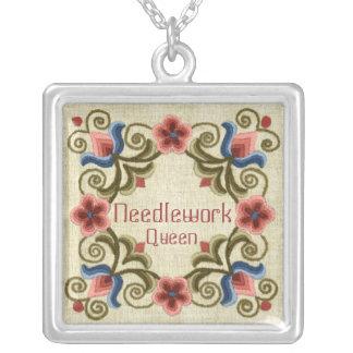 Needlework Queen Square Necklace