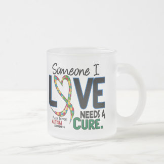 NEEDS A CURE 2 AUTISM AWARENESS FROSTED GLASS COFFEE MUG