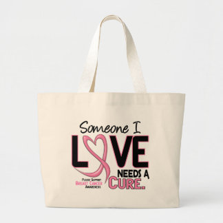 NEEDS A CURE 2 BREAST CANCER T-Shirts & Gifts Large Tote Bag