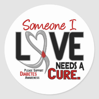 NEEDS A CURE 2 DIABETES T-Shirts & Gifts Classic Round Sticker