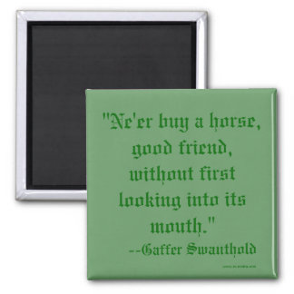 """""""Ne'er buy a horse,good friend, without first l... Magnet"""