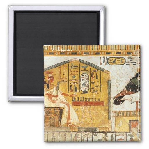 Nefertari que juega el senet imán cuadrado
