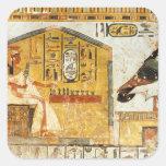 Nefertari que juega el senet pegatina cuadrada