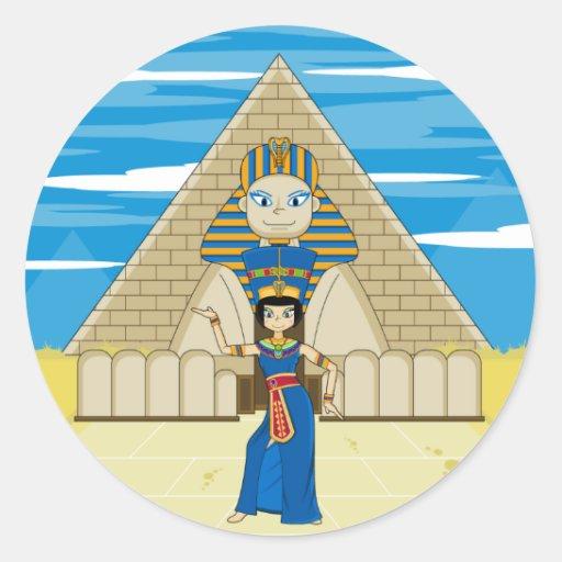 Nefertiti Dancing at The Great Sphinx Round Sticker