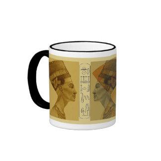 Nefertiti pencil gold and grey ringer coffee mug