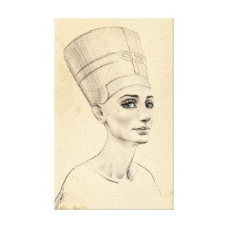 Nefertiti portrait on ancient papyrus texture canvas prints