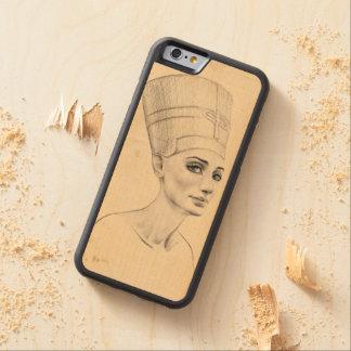 Nefertiti portrait papyrus texture Phone wood case