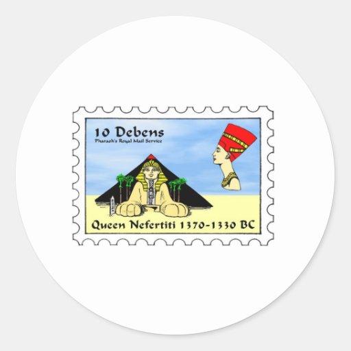 Nefertiti Stamp Round Stickers