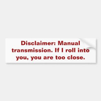 Negación: Transmisión manual Pegatina Para Auto