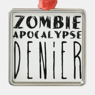 Negador de la apocalipsis del zombi adorno cuadrado plateado